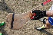 Richmond Battery GAA Coach Niall Duffy shows his broken hurl after playing the Hampton Roads Hurling Club at the James City County Recreation Center field Saturday, February 20, 2016. He had just ordered it from Ireland.