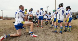 Members of the Richmond Battery GAA hurling team huddle after they lost to the Hampton Roads Hurling Club at the James City County Recreation Center field Saturday, February 20, 2016.