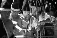 Archers take part the Mometeshiki ceremony on the grounds of the Meiji Shrine on Thursday November 03, 2016 in Tokyo, Japan.