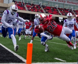 Western Kentucky running back Anthony Wales (20) dives for a touchdown during the C-USA championship game against LA Tech on Saturday Dec. 3, 2016 at L. T. Smith Stadium.
