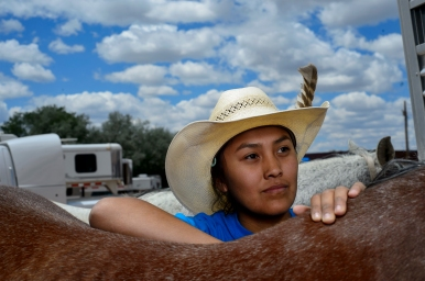 Kash Pablo, 17, of Crownpoint, Nm. was one of many participants who came all over the state to Red Rock park to compete in the New Mexico High school and Junior High school Rodeo Association state finals on Friday, May 27, 2016 in Curchrock, Nm.