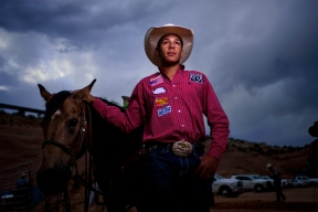 Shad Mayfield, 15 of Clovis NM, follows his father's footsteps as a calf roper and Team roping. Mayfield was one of the few competitors invited to compete in the best of the best timed event rodeo in Churchrock, NM.