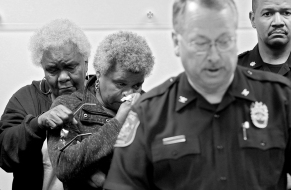 Keir Johnson's mother Rhonda Crews and her grandmother Helen Crews attend a press conference about the missing woman and her daughter Chloe Friday, May 12, 2017, at the Hampton Police Division, in Hampton, Va. Police in Virginia fear someone has kidnaped the mother and eight month old daughter.