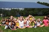 4th. Grade students at Holston View Elementary School watch the solar eclipse outside Holston Elementary School on Monday, August 21, 2017 in the shadow of the school's Solar Pavilion in background in Bristol, Tennessee.