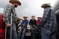Strider Leverton, of Vernel, UT, center, gathers with other participants at the Snowmass Rodeo on Wednesday July 19, 2017 in Snowmass Village, CO. This is the 44th year for the weekly rodeo that runs from mid-June through August.