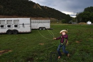 Clayton Rossi, 11, works on his roping skills before during the Carbondale Wild West Rodeo on Thursday July 20, 2017 in Carbondale, CO. The weekly rodeo is in it's 13th year at it's current location. It runs from June to mid-August.