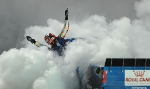 UNOH 200 Truck Race Winner Kyle Busch hangs out of his truck while performing a burnout after finishing the Rain Delayed race on Wednesday, August 16, 2017 in Bristol, Tennessee.