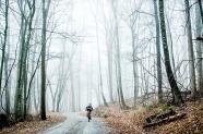BIG ISLAND, VA - JAN 20: Ben Wright heads up Hunting Creek Road through a cloud on Friday, Jan. 20, 2017 near Big Island, Va.