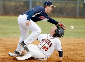 Grafton's Zack Wojnarowski tries to get the tag on Tabb's Hunter Watson as he slides in safe at second during the fourth inning.
