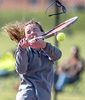 Olivia Offenbacker gets hit in the face during East Rock vs. Riverheads Tennis Wednesday afternoon.