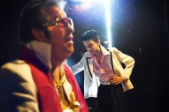 Elvis Tribute Artists, Jim Cardwall, 71, of Jeffersonville, IN, left, and Nathan Pittorf, 11, of Buffalo, NY wait backstage before performing during the Images of the King World Championship at the New Daisy Theatre on Saturday August 12, 2017 in Memphis, TN. August 11-19 is Elvis Week. This year marks the 40th year since Elvis Presley's death.
