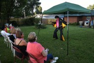 Elvis Tribute Artist, Bruce Hanson of Rice Lake, WI, performs in the backyard of Bud and Mary Stonebraker on Friday August 11, 2017 in Memphis, TN. The couple have lived directly behind Elvis Presley's Graceland for 22 years.