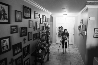 Gianna Baca gets ready at her home to attend a student assembly at Faith Lutheran Middle School and High School on Friday October 06, 2017 in Las Vegas, NV. Gianna was shot in the leg while attending the Route 91 Harvest Festival. Her twin sister was also wounded.
