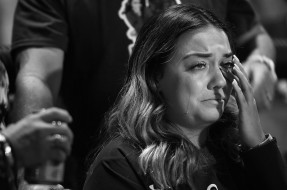 Natalia Baca cries as she attends a homecoming football game at Faith Lutheran Middle School and High School with her twin sister, Gianna Baca on Friday October 06, 2017 in Las Vegas, NV. Natalia and her sister, Gianna were both shot by suspected gunman, Stephen Paddock while attending the Route 91 Harvest Festival.