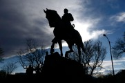 A statue depicting Confederate general Robert E. Lee stands over Lee Park in downtown Charlottesville on April 7, 2016.