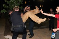 "Police make an arrest during a counter-protest to ""take back Lee Park"" on Sunday, May 14, 2017 after torch-bearing protesters met up at the Charlottesville park on Saturday night."