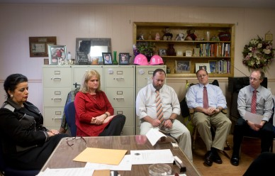 Administrators for the Dickenson County Public Schools sit at the offices on Thursday, Dec. 15, 2016 going over the difficulties with budgetary issues. Seated left to right: Superintendent Haydee Robinson, Denechia Edwards, Mark Mullins, Mike Setser and Larry Barton.