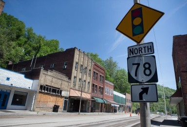 Downtown Appalachia on W. Main Street is seen Wednesday, May 17, 2017 with many storefronts vacant, boarded up and empty. Appalachia is a part of Wise County, Virginia and was historically known to be the center of the booming coal mining industry.