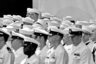 Crew members of the submarine USS Indiana stand during the christening of the Virginia-class submarine Indiana at Newport News Shipbuilding Saturday morning April 29, 2017. The Indiana — or SSN-789 — is the 16th boat in the Virginia class of nuclear-powered subs being built. A total of 14 former Navy sailors from the last USS Indiana, the BB-58, a World War II-era battleship attended the christening. All in their 90s, they are among the roughly 60 or so men left from the original crew of 2,300. Vice President Mike Pence, who was governor of Indiana before becoming vice president, will keynote Saturday's event celebrating the Hoosier State's namesake vessel. The $2.5 billion, 377-foot Indiana will be delivered to the Navy in early 2018.
