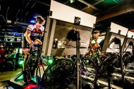 ROANOKE, VA - MAR 9: Ben races in a virtual race using an app called Zwift against regional cycling talent, including Jeremiah Bishop, right, at Soaring Ridge Brewery on Thursday, Mar. 9, 2017 in Roanoke, Va. Bishop met Ben the previous year at a Gran Fondo ride that Bishop hosts, and noticed Ben's talents. Bishop has since acted as a mentor.