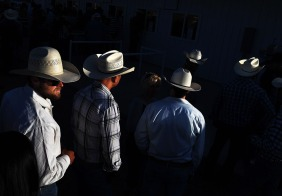 People wait in line for concessions prior to the start of an evening rodeo during Pioneer Days on Saturday May 05, 2018 in Guymon, OK. This was the 86th year of the event.