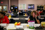 Workers at Pender County Office of Emergency Management take calls in Burgaw, N.C., on Friday, September 21, 2018.