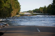 U.S. 421 near the Pender-New Hanover County line is washed out on Friday, September 21, 2018 as a result of floodwaters from Hurricane Florence dumping over 20 inches of rain into the Black River and the Cape Fear River.