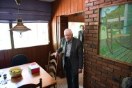 Former President of the United States, Jimmy Carter is seen at his home following a morning church service at Maranatha Baptist Church on Sunday August 05, 2018 in Plains, GA. Born in Plains, GA, President Carter stayed in the town following his presidency. The painting at right was done by Carter.