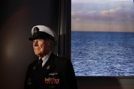 "1st PLACE PORTRAIT: MATT MCCLAIN, WASHINGTON POST--World War II veteran, Hank Kudzik, 93, poses for a portrait at the Naval Heritage Center following the ""Sea of White"" ceremony that remembers the Battle of Midway at the United States Navy Memorial on Tuesday June 05, 2018 in Washington, DC. Kudzik served on the USS Nautilus (SS-168) submarine during the Battle of Midway."