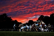 2nd PLACE SPORTS: JONATHON GRUENKE, DAILY PRESS--Poquoson and Warhill battle as the sun sets during Friday's game at Poquoson Middle School September 28, 2018.