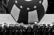 Officers and crew members of the submarine Delaware gather before the start of the christening ceremony at Newport News Shipbuilding Saturday morning October 20, 2018. Delaware will be the ninth Virginia-class submarine that Newport News has delivered — 18th in the entire class.