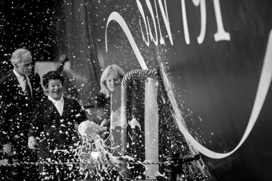 Senator Thomas Carper, left, and Newport News Shipbuilding president Jennifer Boykin watch as Jill Biden, right, smashes a bottle of sparkling wine during the christening ceremony for the submarine Delaware at Newport News Shipbuilding Saturday morning October 20, 2018. Delaware will be the ninth Virginia-class submarine that Newport News has delivered and 18th in the entire class.