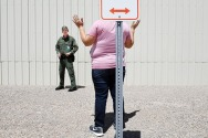 Jacob Montagnani, 22, takes part in a practice scenario at the United States Border Patrol Academy on Thursday August 30, 2018 in Artesia, NM. The academy is on the grounds of the Federal Law Enforcement Training Center.