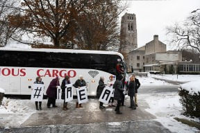 Supporters of Ansly Damus board a bus to attend a hearing for Damus on Wednesday November 28, 2018 in Cleveland Heights, OH. The hearing was in Ann Arbor, MI. Damus, who is from Haiti has been detained since 2016 after coming to the United States to seek asylum.