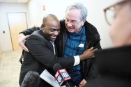 Ansly Damus hugs Gary Benjamin after Ansly was released from an ICE facility on Friday November 30, 2018 in Brooklyn Heights, OH. Damus, who is from Haiti has been detained since 2016 after coming to the United States to seek asylum. Ansly was released on Friday to live with Benjamin and his wife, Melody Hart.