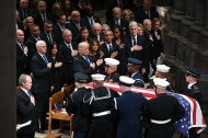2nd Place Feature: Matt McClain, Washington Post---Former president George W. Bush, President Donald Trump, and former presidents Barack Obama, Bill Clinton and Jimmy Carter look on at the conclusion of a funeral service for former president George H.W. Bush at Washington National Cathedral on Wednesday December 05, 2018 in Washington, DC.