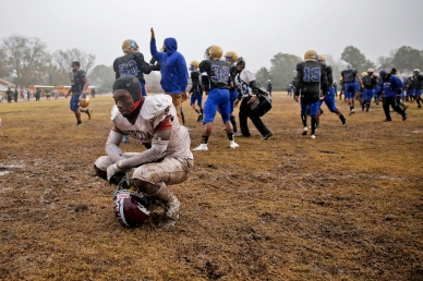 3rd Place Sports: Jonathon Gruenke, Daily Press---Norcom's Thomas White is overcome with emotion after losing 7-6 in triple overtime to Phoebus during Saturday afternoon's Class 3 Region A championship game at Darling Stadium November 24, 2018.